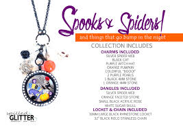 spooks and spiders fall halloween themed floating locket and charm