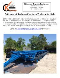 Kitchen Trailer For Sale by Trabosa 30 Line Hydraulic Platform Trailer For Sale