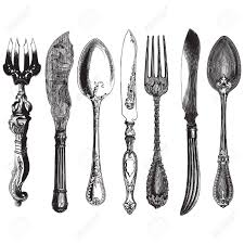 kitchen forks and knives ancient style engraving of a set of vintage cutlery forks knives