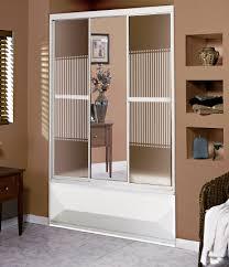 Tub Shower Door 3 Panel 59 Glass Tub Shower Door With Mirror Bargain Outlet