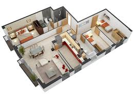 3 Bedroom Apartment House Plans House Plan Designs In 3d