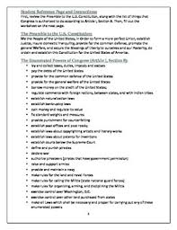 constitution analysis preamble and enumerated powers worksheet
