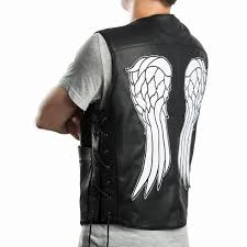 leather vest the walking dead governor daryl dixon angel wings faux leather