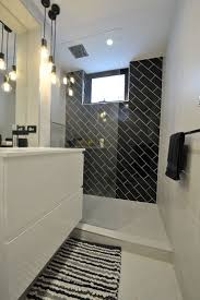 Gray And Brown Bathroom by Black White Tile Bathroom Floor Square Bathtub Design Beside