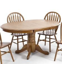 classic oak round oval pedestal dining table with laminate top by