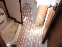 Teak And Holly Laminate Flooring Check Out My New 50 Faux Cabin Sole Sailboatowners Com Forums