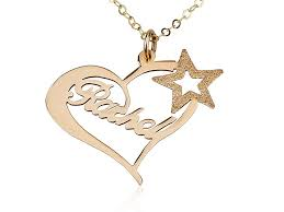 gold necklace with name yellow gold heart name necklace w a persjewel