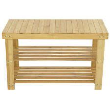 homcom bamboo shoe rack bench brown storage furniture design ebay