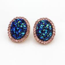 druzy stud earrings aliexpress buy wholesale 12pcs lot sparkly druzy stud