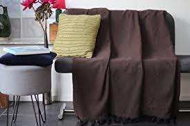 grand jeté de canapé grand plaid jeté de canapé ou couvre lit noir et marron chocolat