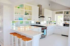 contemporary kitchen with glossy white cabinets and u shaped