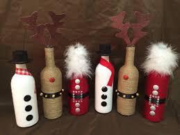 christmas wine bottle decor holidays santa reindeer snowman