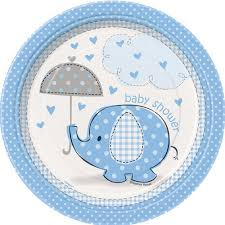 baby plates 7 blue elephant baby shower plates 8ct walmart