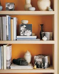 orange rooms martha stewart enliven bookcase