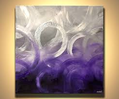 modern purple silver abstract painting 40 x 40 by osnatfineart