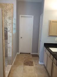 Gray And Brown Bathroom by Bathroom Remodel Travertine Tan Brown Granite Grey Paint Grey