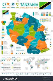 Tanzania Map Tanzania Info Graphic Map Flag Vector Stock Vector 700822357