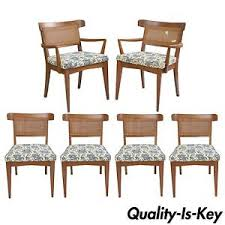 Cane Back Dining Room Chairs 6 Vtg Mid Century Modern Walnut Curved Cane Back Dining Chairs