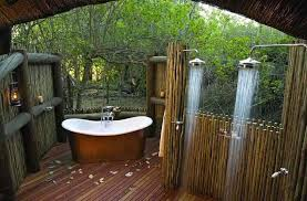 outdoor bathrooms ideas mediterranean master bathroom with outdoor shower freestanding