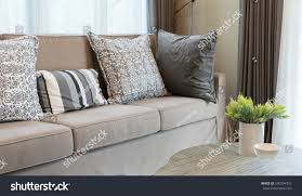 sturdy brown tweed sofa grey patterned stock photo 290534372