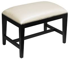 bench small padded bench cream upholstered bench in matte black