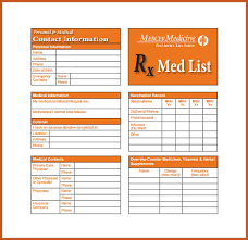medication card template medication list template sop exle