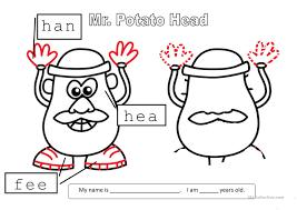 mr potato head worksheet free esl printable worksheets made by