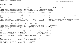 light of the world chords song this is my fathers world trad lyrics and chords