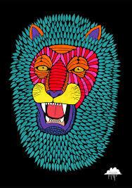 magic lion print mulga the artist