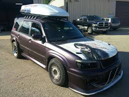 stanced subaru forester this 554 hp supercharged lsx powered subaru forester is wickedly