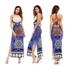beach party maxi halter waves striped women sleeveless long maxi