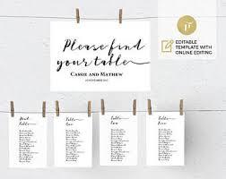 wedding seating chart template diy printable wedding table