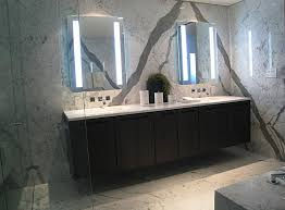 Mirrored Bathroom Furniture Modern Lighted Frameless Wall Mirror On Gray Marble Bathroom