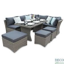 Modular Corner Daybed Sofa Dining Rattan Set Natural DECO Alfresco - Rattan furniture set