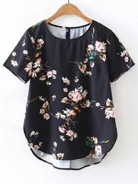 floral blouse floral print high low blouse shein sheinside