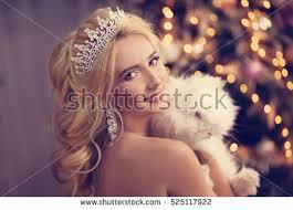 beautiful blonde princess wearing crown pink stock photo 525117922