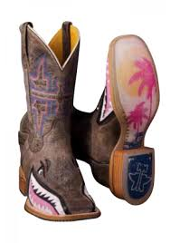 tin haul ladies gnarly pink shark boot with man eater sole boots