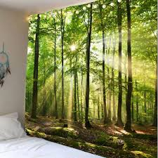 Wall Mural Sunlight In The Forest Stream Sunlight Waterproof Wall Tapestry Green W Inch L