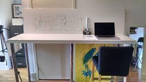 Ikea Standing Desk Hack by Standing Dual Whiteboard Desk Workbench Simple Ikea Hack Album