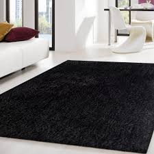 3 piece set hand tufted solid black thick plush shag area rug rug