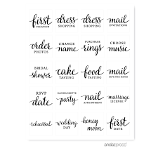 wedding scrapbook stickers andaz press 1st year wedding planner labels stickers black and
