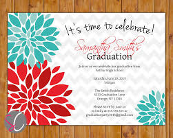 Graduation Party Invitation Card 2017 Graduation Party Invitation Red Teal Blue Floral Flower