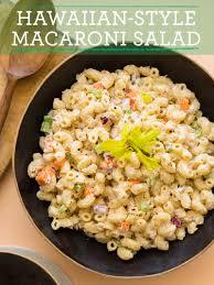 hawaiian style macaroni salad recipe spoon fork bacon