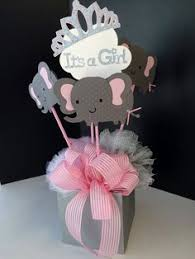 centerpieces for baby shower four pink grey elephant mini cakes baby shower centerpiece