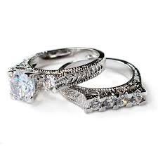 vintage wedding ring sets cz ring cz wedding ring cz engagement ring wedding ring set