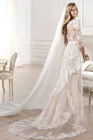 half lace wedding dress high quality v neck lace wedding dresses half sleeves slit front