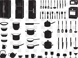 beautiful kitchen utensils silhouette vector free pack 1 cooking