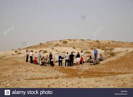 holy land pilgrimage catholic pilgrimage in holy land catholic mass in negev desert stock photo
