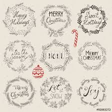 christmas hand drawing sketch wreath set for design vector illu
