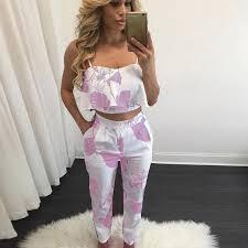 womens pant jumpsuit 2 pcs spaghetti sleeveless crop top slim